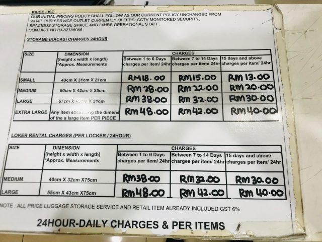 マレーシア空港(KLIA)内の荷物預かり所の料金