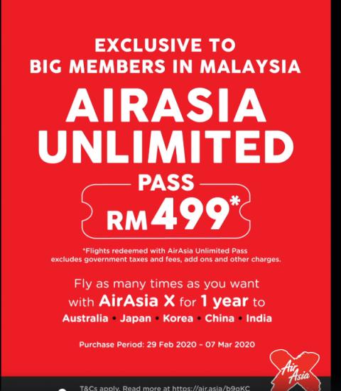 エアアジアのアンリミテッドパス(飛行機1年間乗り放題)AirAsia Unlimited Pass RM499